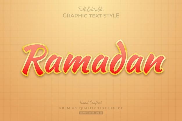Style de police d'effet de texte modifiable ramadan