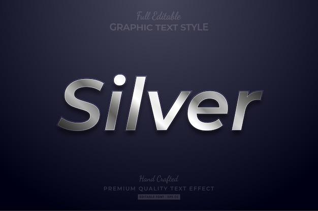 Style de police d'effet de texte modifiable silver shine
