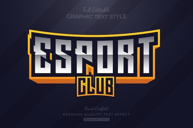 Style de police d'effet de texte premium modifiable esport club gradient yellow