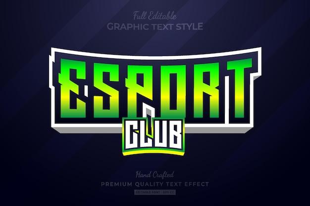 Style de police d'effet de texte premium modifiable esport club gradient