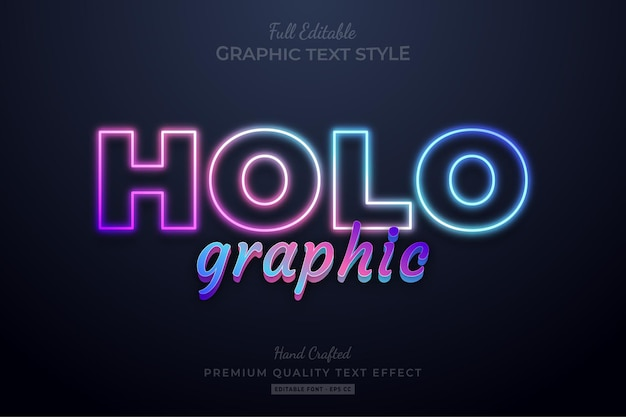 Style de police d'effet de texte premium modifiable par dégradé holographique