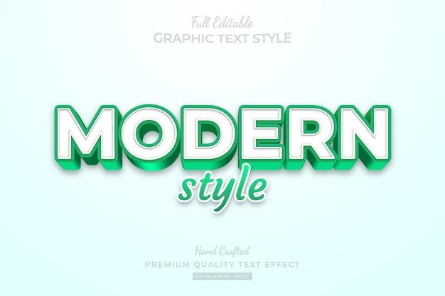 Style de police d'effet de texte premium modifiable de style vert moderne