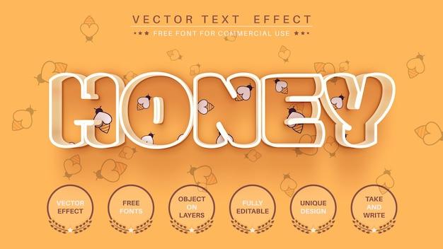 Style de police modifiable d'effet de texte d'édition de trait de miel