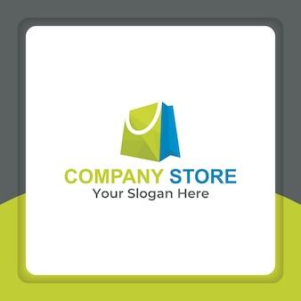 Style de polygone de conception de logo de sac à provisions pour les achats en ligne commerce électronique au détail