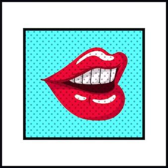Style pop art bouche féminine