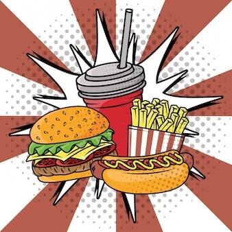 Style de pop art délicieux fast food