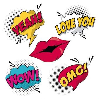 Style pop art avec demi-teinte et lèvres avec légende et texte à l'intérieur