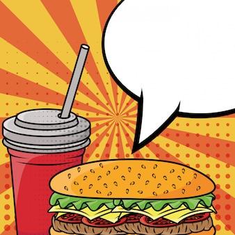 Style pop art hamburger et soda à la restauration rapide