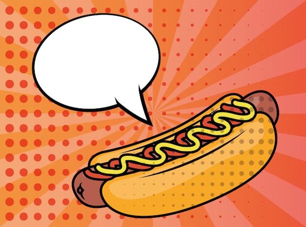 Style de pop art de restauration rapide de hot-dog