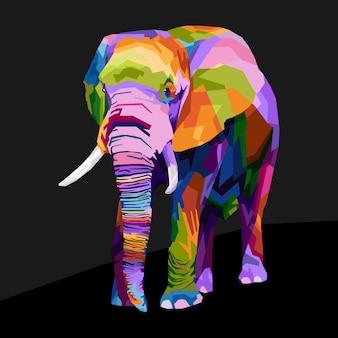 Style de portrait pop art éléphant colrful