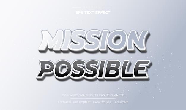 Style possible de mission d'effet de texte modifiable