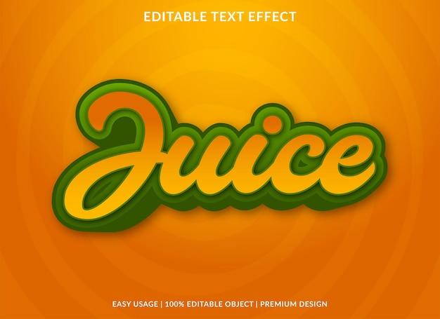 Style premium de modèle d'effet de texte modifiable de jus