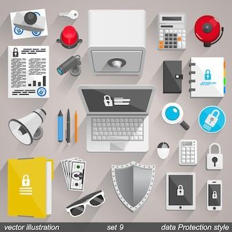 Style de protection des données vectorielles. ensemble 9 illustration art