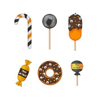 Style réaliste de collection de bonbons d'halloween