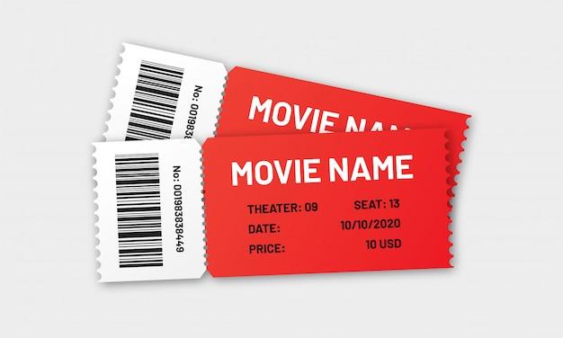 Style réaliste de conception de modèle de deux billets de cinéma rouge