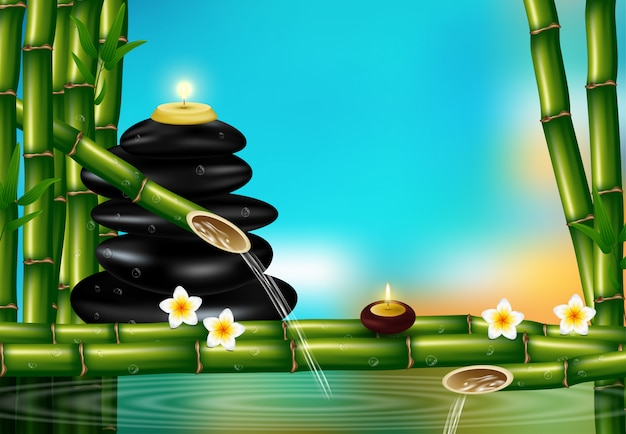 Style réaliste, défini pour les traitements de spa avec sel aromatique, huile de massage, bougies