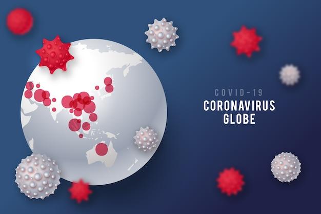 Style réaliste de globe de coronavirus