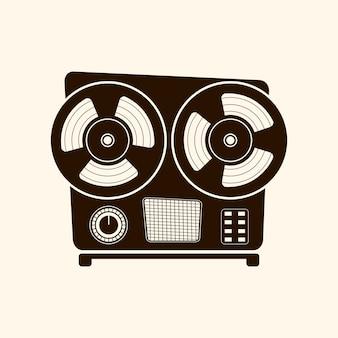 Style rétro du lecteur de cassettes. icône vectorielle. sur fond clair.