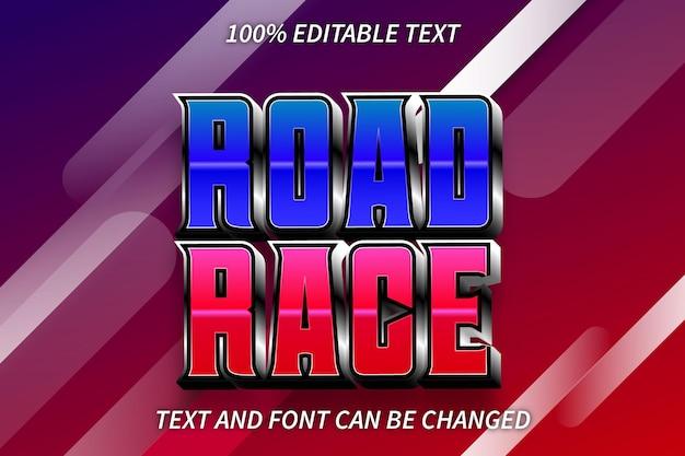 Style rétro d'effet de texte modifiable de course sur route