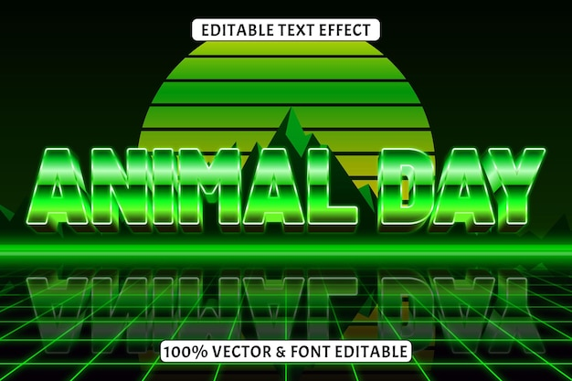 Style rétro d'effet de texte modifiable du jour des animaux
