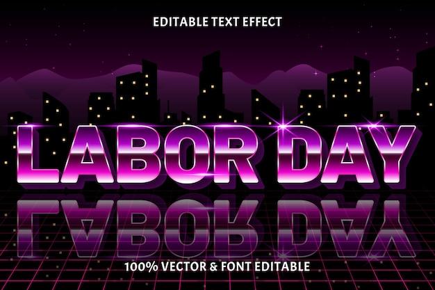 Style rétro d'effet de texte modifiable de la fête du travail