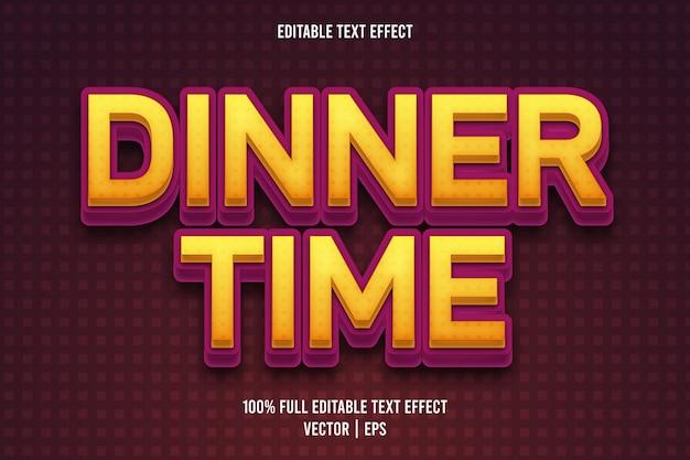 Style rétro d'effet de texte modifiable à l'heure du dîner