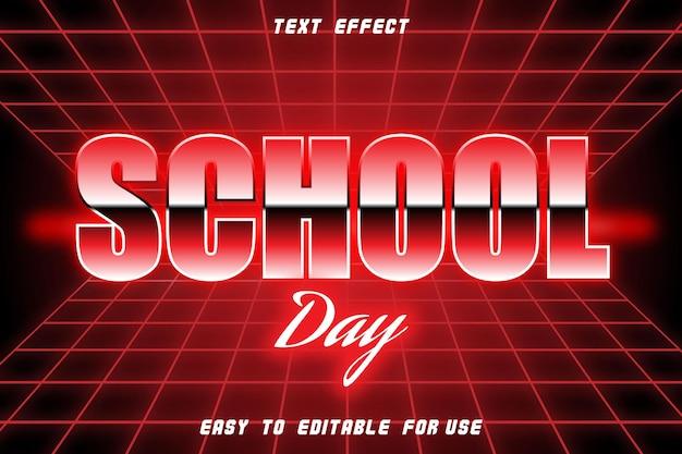 Style rétro d'effet de texte modifiable de jour d'école
