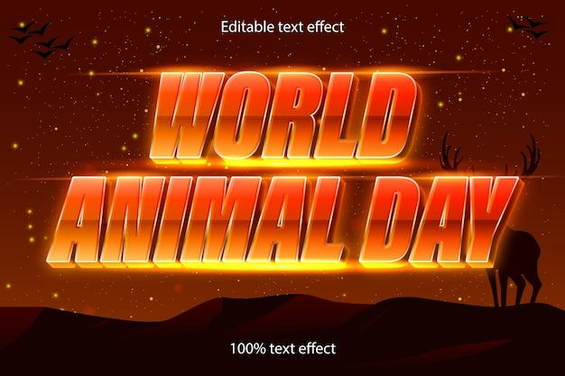 Style rétro d'effet de texte modifiable de la journée mondiale des animaux
