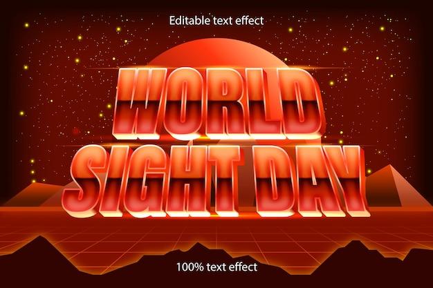 Style rétro d'effet de texte modifiable de la journée mondiale de la vue