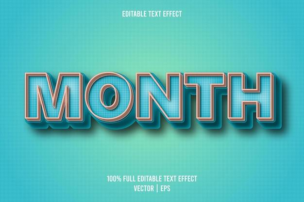 Style rétro d'effet de texte modifiable par mois