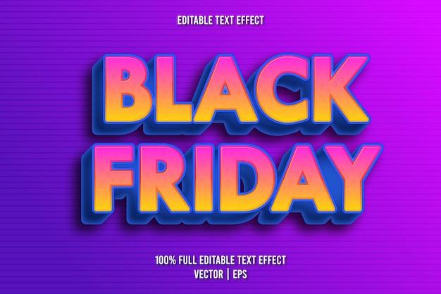 Style rétro d'effet de texte modifiable vendredi noir