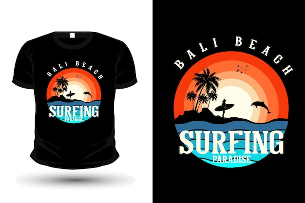 Style rétro de silhouette de conception de t-shirt de plage de bali