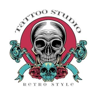 Style rétro de studio de tatouage de crâne