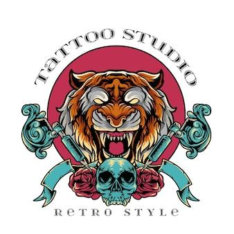 Style rétro de studio de tatouage de tigre