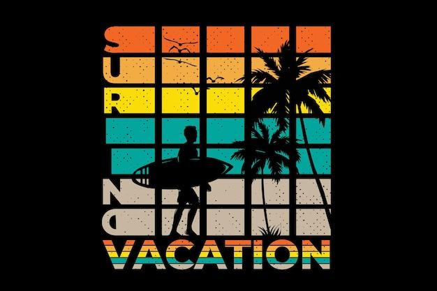 Style rétro de vacances de surf