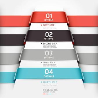 Le style de ruban de modèle d'infographie abstraite peut être utilisé pour la mise en page de flux de travail, diagramme, options de nombre, options de renforcement, conception de sites web