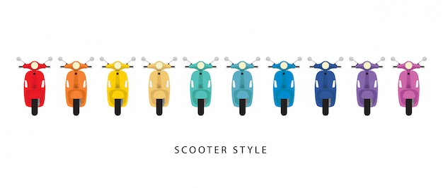 Style de scooter et coloré sur blanc