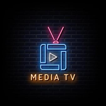 Style de signe au néon pour le logo media tv