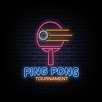Style de signe de logo néon pingpong