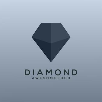 Style simple d'illustration de logo de diamant