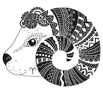 Style de tatouage. silhouette de mouton isolé sur fond blanc. bélier signe du zodiaque