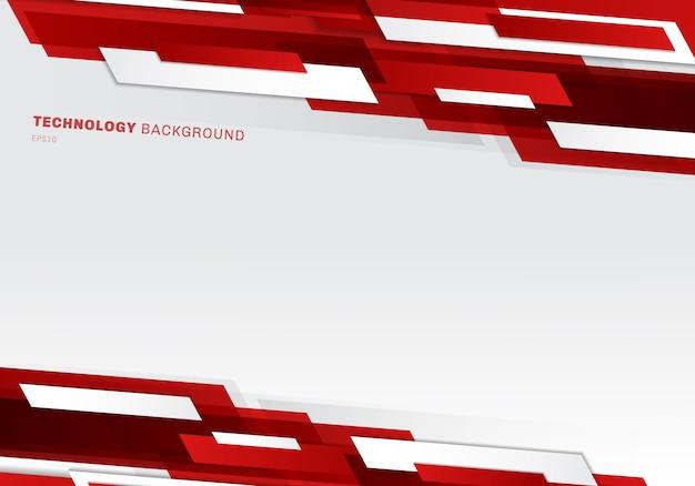 Style de technologie géométrique abstrait rouge et blanc