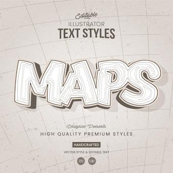 Style de texte blanc de carte et de terrain