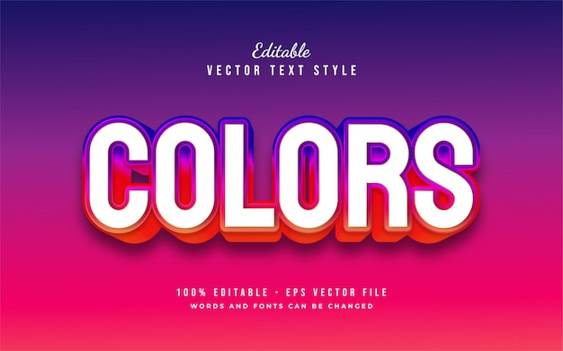 Style de texte blanc et coloré audacieux avec effet en relief 3d. effet de style de texte modifiable