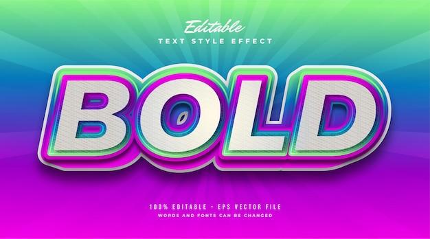 Style de texte coloré audacieux avec effet en relief. effet de style de texte modifiable