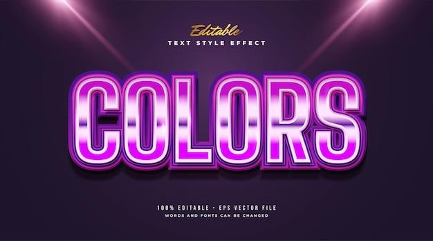 Style de texte coloré avec effet brillant et brillant