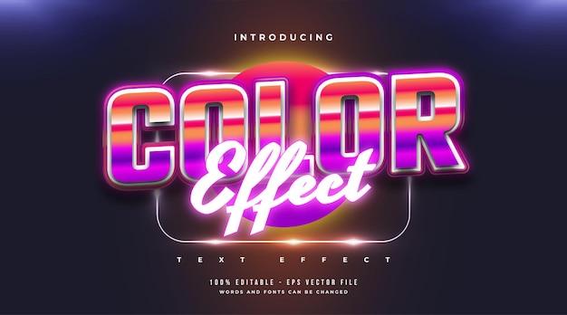 Style de texte coloré avec néon brillant et effet de relief 3d. effet de style de texte modifiable