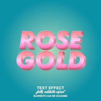 Style de texte dégradé 3d rose doré