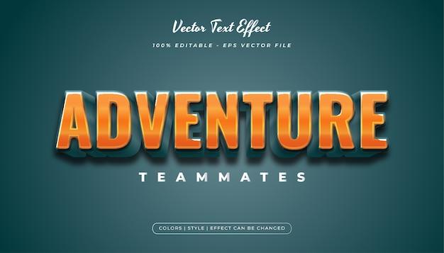 Style de texte de dessin animé 3d avec des effets en relief et lumineux dans le concept bleu et orange