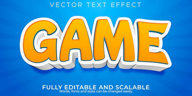 Style de texte de dessin animé de jeu d'effet de texte modifiable
